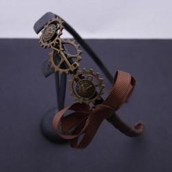 Serre-tête steampunk engrenages, horloge, clé