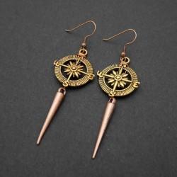 Boucles oreilles Steampunk Rose des Vents